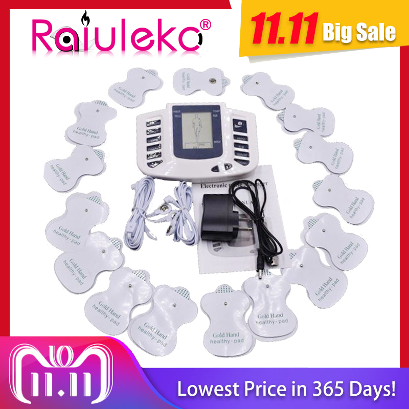 NEW!Health Care Electrical Muscle Body Stimulator Massageador Tens Acupuncture Therapy Machine Slimming Body Massager 16pcs pads simple v neck cap sleeve pure color spliced blouse for women
