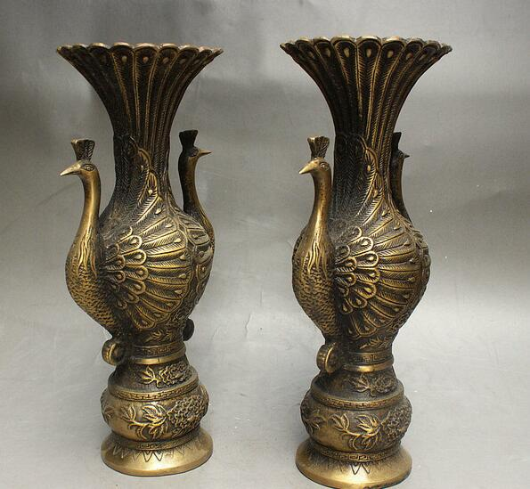10 Rare China Fengshui Bronze Auspicious Wealth Bird Peacock Bottle Vase Pair In Statues Sculptures From Home Garden On Aliexpress Alibaba