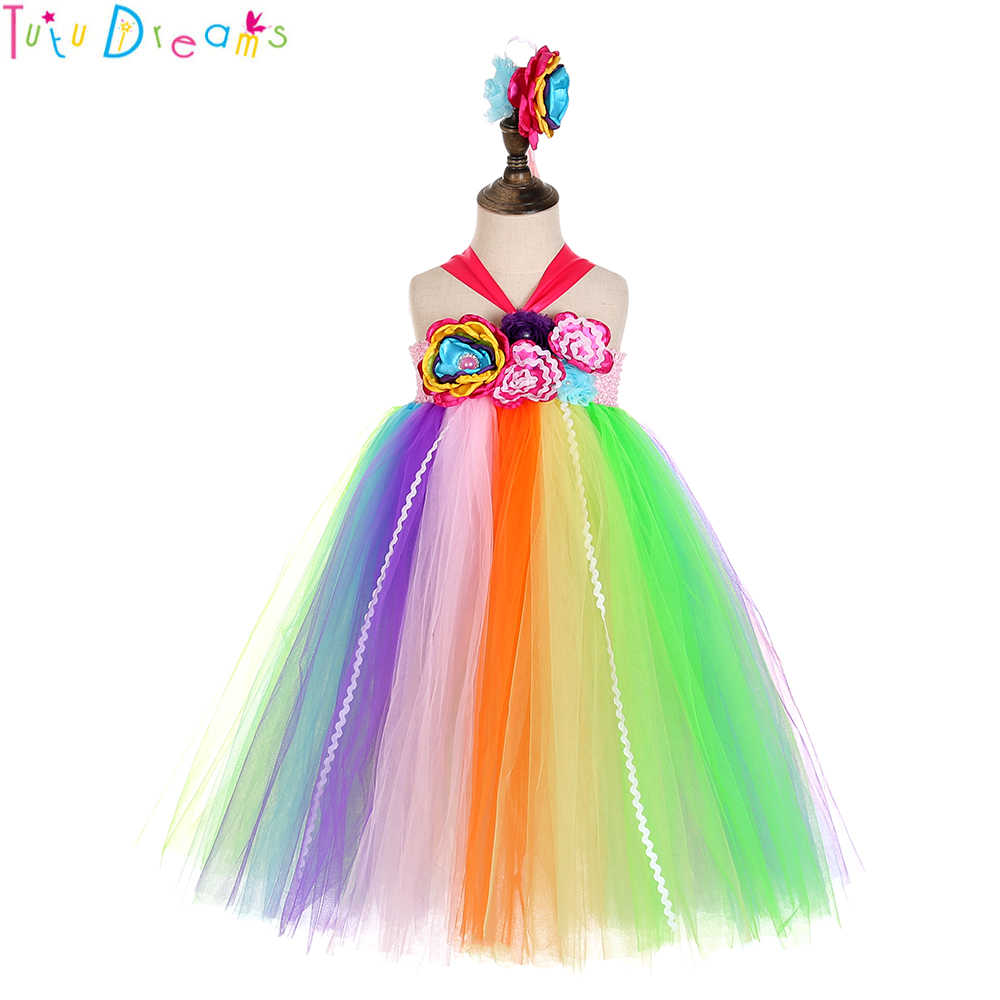 0af7d7f0408 Sweet Baby Kids Candy Tutu Dress Rainbow Flowers Girls Bow Carnival  Birthday Halloween Easter Costume With