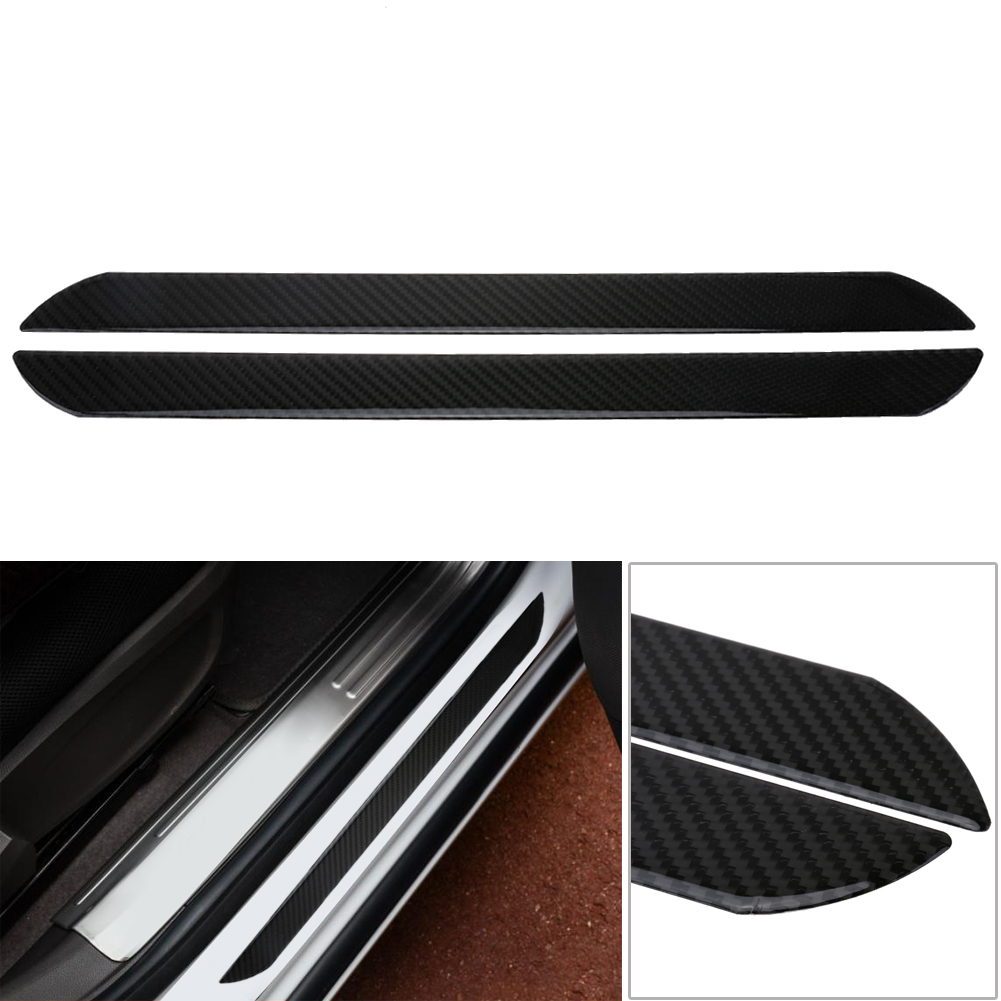 2pcs middle length carbon fiber car interior door sill scuff protect welcome pedal stickers auto. Black Bedroom Furniture Sets. Home Design Ideas
