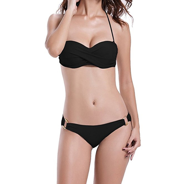 d80dddb8cd4ea Sexy Metal Ring Design Push Up Bandeau Bikini Set Strapless Steel Support  Padded Women Swimsuit S M L