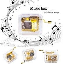 Mini Manual Movement Gurdy Music Box Acrylic Hand Crank Xmas