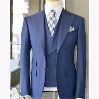 2018 Latest Coat Pant Design Light Blue Men Suit Slim Fit 3 Piece Tuxedo mens Wedding Suits Custom Groom Blazer Terno Masculino