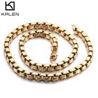KALEN Fashion 60cm Long Chain Necklaces Men Women Stainless Steel Gold Color Box Chain Collar Necklace