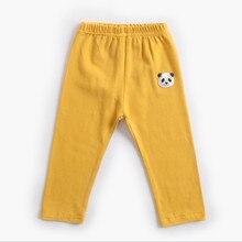Хлопковые тонкие однотонные Стрейчевые трикотажные штаны для девочек новые весенне-осенние детские Мультяшные колготки, брюки