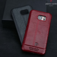 Pierre Cardin Case For Samsung Galaxy S7 S7 Edge S6 S6 Edge Edge Plus Stitched Genuine