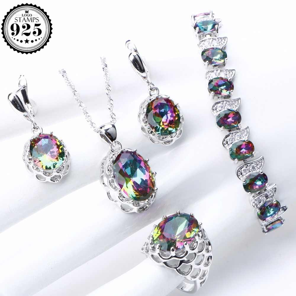 Rainbow Zirconia 925 Sterling Silver Jewelry Sets For Women Stones Jewelry Bracelet Necklace Earrings Rings Set Gifts Box