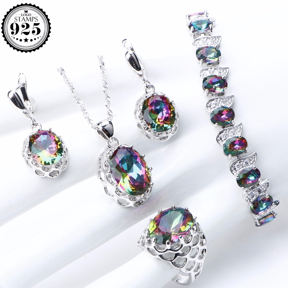 Rainbow Zirconia 925 Sterling Silver Jewelry Sets For Women Stones Jewelry Bracelet Necklace Earrings Rings Set Gifts Box