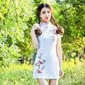 Nacional Nueva Moda de Verano 2016 de Las Mujeres Atractivas de Algodón Bordado del Collar Del Soporte de Manga Corta Vestido Del Club Apretado