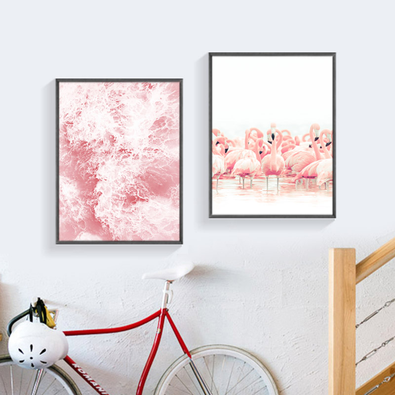 Aliexpress Com Buy Hdartisan Wall Canvas Art Pictures: Nordic Poster Pink Flamingo Water Posters And Prints Wall