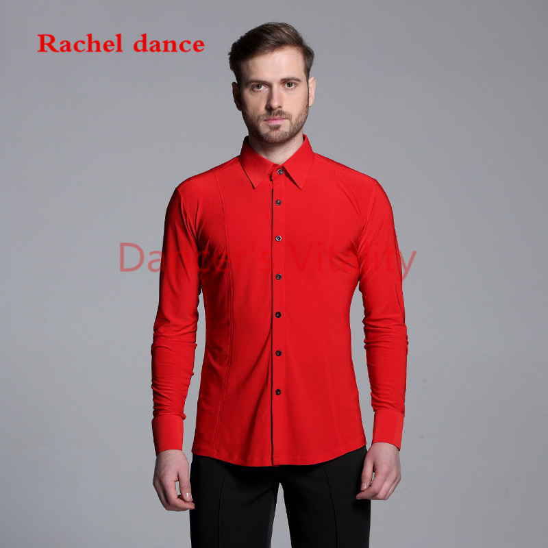 2017 New Short Sleeves Button Mens Latin Shirts Dance Top Ballroom Latin Dance Costumes Stage Clothing