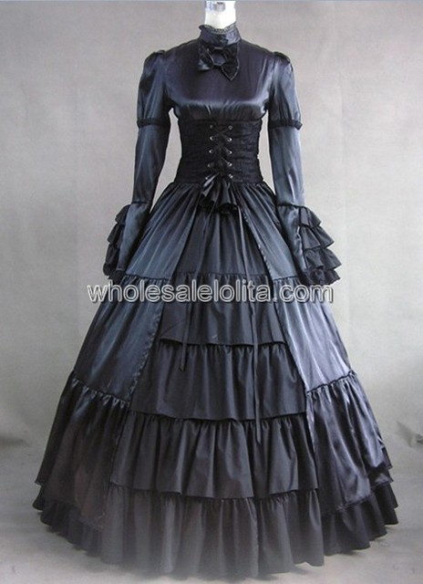 Long Sleeves Black Gothic Victorian Style Gowngothic Dress Cosplay