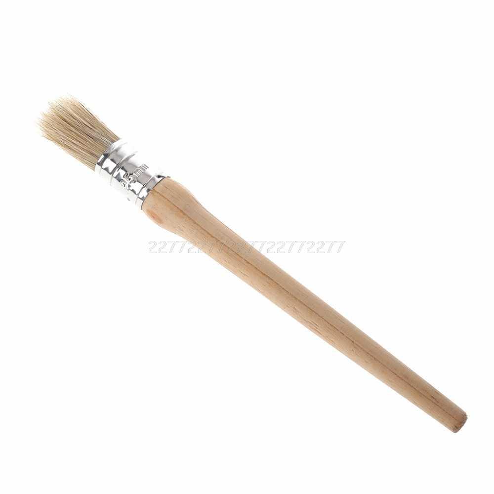 20/25/30mm profesional redondo largo tiza pintura cera cepillo cerdas naturales mango de madera pintura encerado muebles plantillas J18