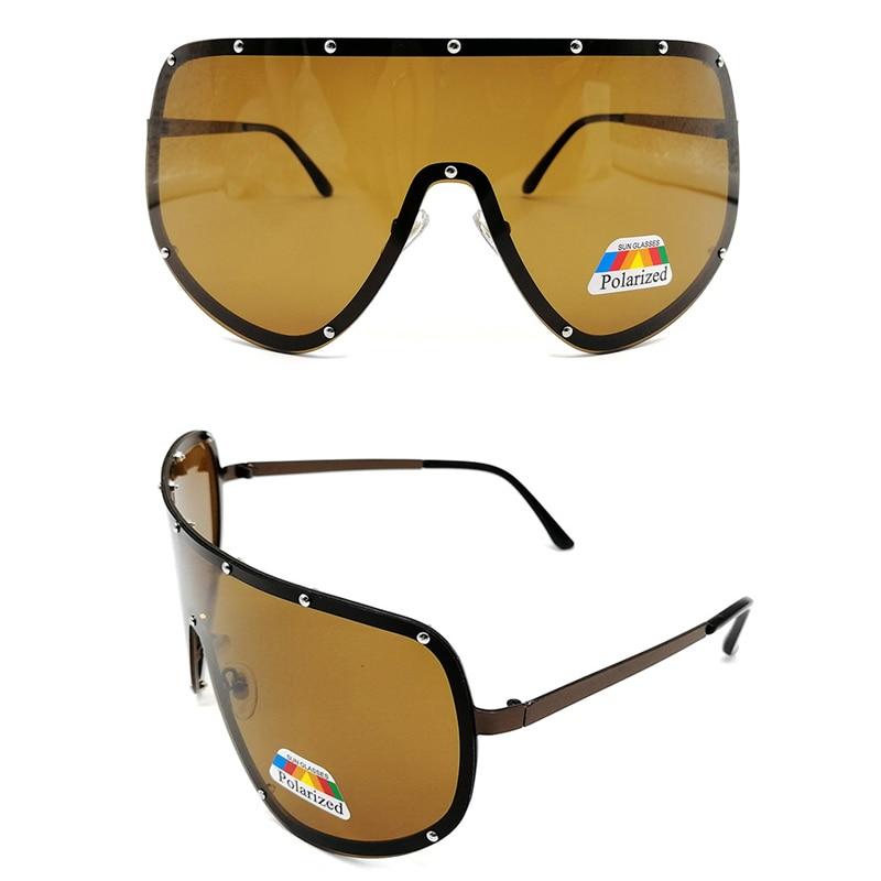 Lunettes de Soleil Polarisées Enveloppant Designer Sports Bouclier Noir UV400