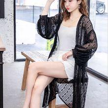 Плюс размер кружева женщины Летняя мода крючком Защита от солнца одежда свободные средней длины ShirtsWLP144