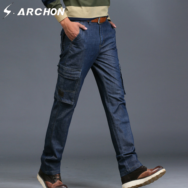 S.ARCHON Military Tactical Men   Jeans   Pants Spring Autumn Thick Straight Denim Male Trousers Casual Motorcycle Cargo Pants Pocket