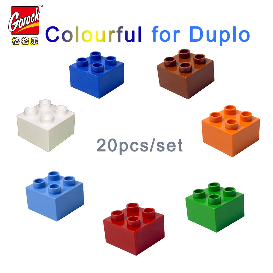 Colourful Big Building Blocks square Bulk bricks 20pcs/Set Educational Bricks Toys For Gift For Baby Compatible With legoe Duplo 120pcs farm building blocks diy toys early learning self locking bricks baby educational toys compatible with duplo play house