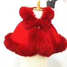 ; детская одежда с натуральным лисьим мехом; Длина 30 см; age1-2; съемный капюшон; кашемировая накидка