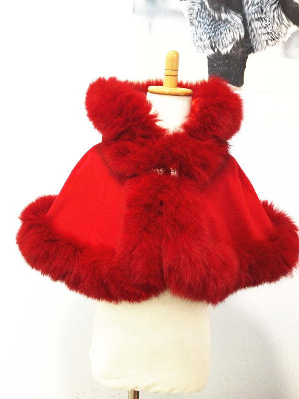 Free shipping kid with real fox fur length 30cm for age1 2 detachable hood cashmere cape