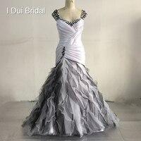 שחור לבן אוסף חדש סטרפלס מתוקה צוואר שמלות כלה תמונה אמיתית שכבה עטופה קו