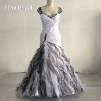 Black White Wedding Dresses Real Photo New Collection Strapless Sweetheart Neck A line Draped Layer