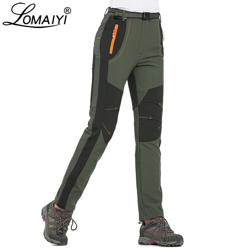 LOMAIYI Cargo Pants Women Winter Warm Pants Women's Trousers Large Size Sweatpants Woman Fleece Lining Waterproof Pants AW079