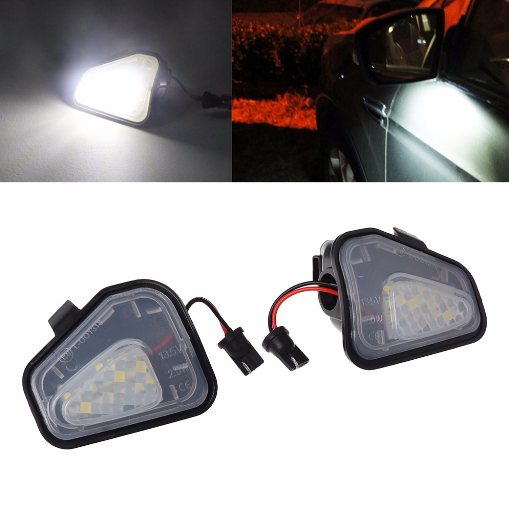 2pcs 18 LED Side Mirror Puddle Light Lamp For VW CC Passat Scirocco White 2pcs white under led side mirror puddle light lamp for vw golf gti mk6 6 mkvi 2010 2014