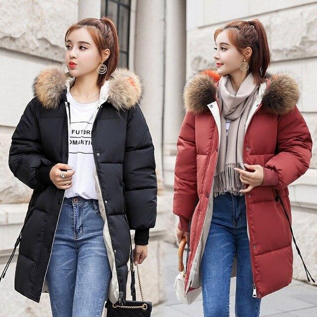 zozowang 2018 New yellow Winter Jacket Women Parka Fake Fur Collar Down Wadded Female outerwear Cotton-Padded Jackets Women Coat 5
