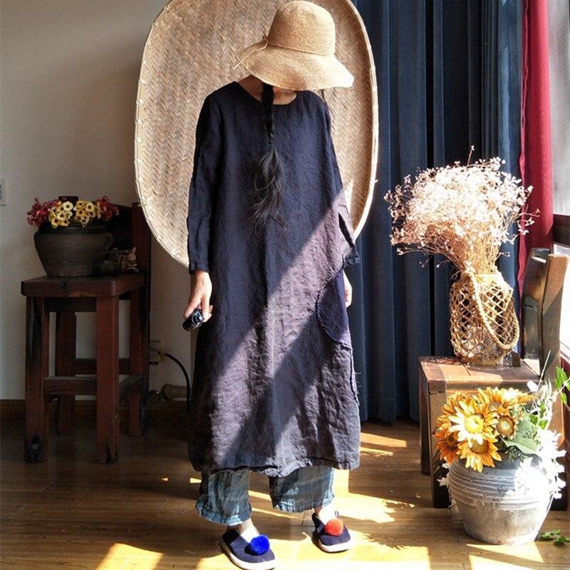 Johnature 2019 새로운 빈티지 솔리드 컬러 패치 워크 리넨 가운 드레스 가을 o 넥 느슨한 원래 워시 여성 드레스-에서드레스부터 여성 의류 의  그룹 1