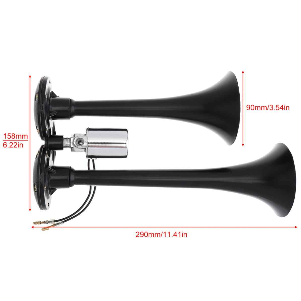 12V 178DB Universal Super Loud Black Dual Car Trumpet Electronically Controlled Car Air Horn for Cars / Trucks /Boats
