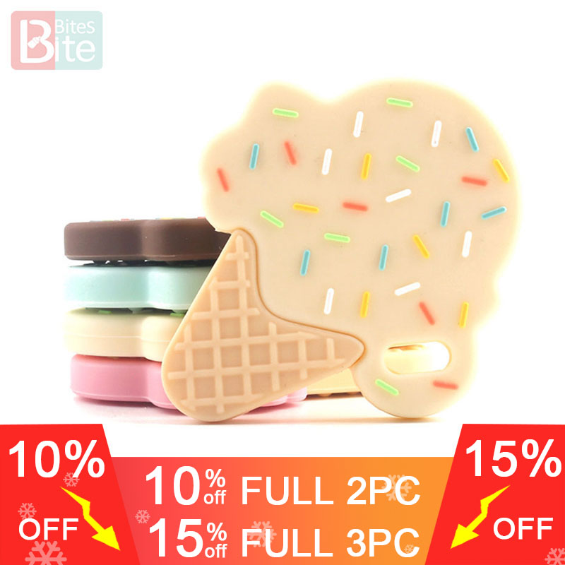 Bite Bites 1pc Silicone Ice Cream Teether BPA Free Silicone Accessory Nylon Rope Cream Chocolate Baby Shower Gift Baby Teether
