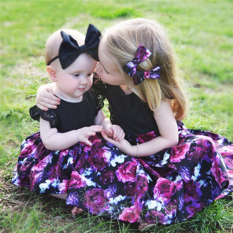 Hot Toddelr Kids Baby Girls Sister Matching Floral Jumpsuit Romper Dress Outfits Set