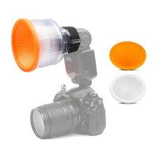 Universal Lambancy Dome Flash Diffuser for Canon 430EX 550EX 600EX Nikon SB600 SB700 Sony A6000 White Orange Cloud Covers