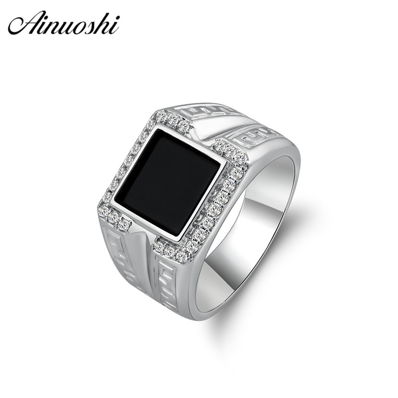 AINOUSHI 925 Sterling Silver Men Wedding Engagement Rings Black Princess Cut Male Silver Birthday Party Halo Ring Girls JewelryAINOUSHI 925 Sterling Silver Men Wedding Engagement Rings Black Princess Cut Male Silver Birthday Party Halo Ring Girls Jewelry