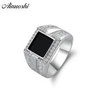 AINOUSHI 925 Sterling Silver Men Wedding Engagement Rings Black Princess Cut Male Silver Birthday Party Halo Ring Girls Jewelry