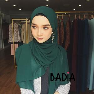 Image 5 - 10pcs/lot high quality women muslim chiffon scarf islamic georgette scarfs shawls headwear long wraps solid plain chiffon hijabs
