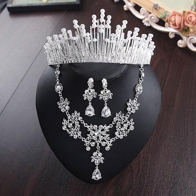 Bride Diaries New Design Crystal Pearl Bride 3pcs Set Necklace Earrings Tiara Bridal Wedding Jewelry Set Accessories (16)