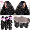 Brazilian Loose Wave With Closure 3 Bundles With Frontal Closure Loose Wave Frontal With Bundles Loose Wave Brazilian Hair Weave