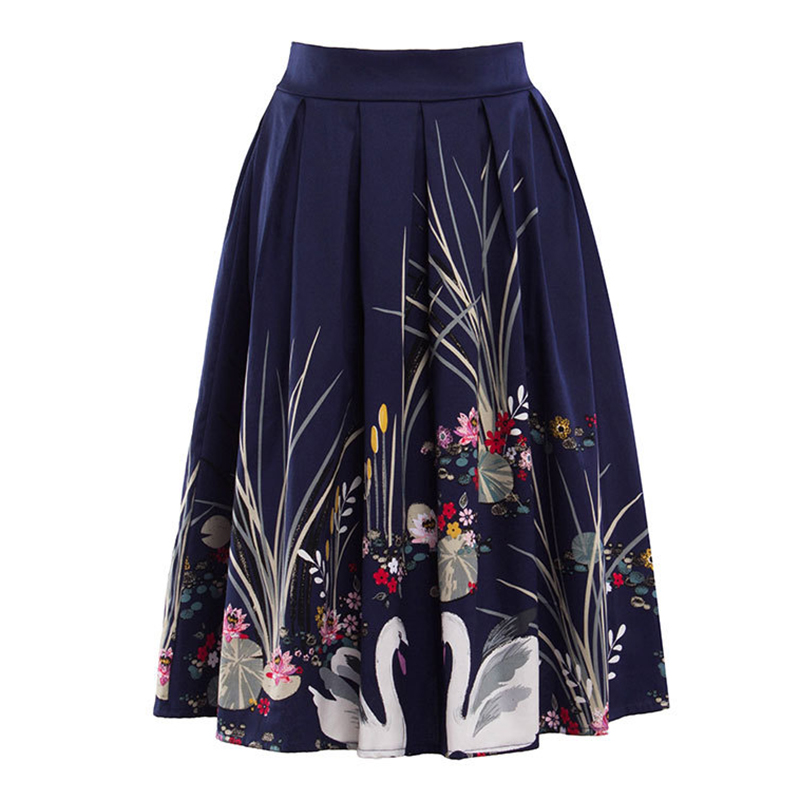 Kostlish 2017 Retro Print Summer Skirts Womens High Waist 50s Vintage Midi Skirt Elegant Slim Big Swing Women Skirt Plus Size (7)