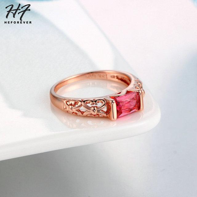 Semplice di Stile Della Signora Imitazione Red CZ Anelli In Oro Rosa di Colore di Marca di Modo Retro di Cristallo Dei Monili Per Le Donne Anel R367 R368