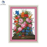 Joy Sunday Flower basket 10 Counted DIY Hand Cross Stitch 11CT 14CT DMC Printed Cloth for Embroidery Home Decor Needlework