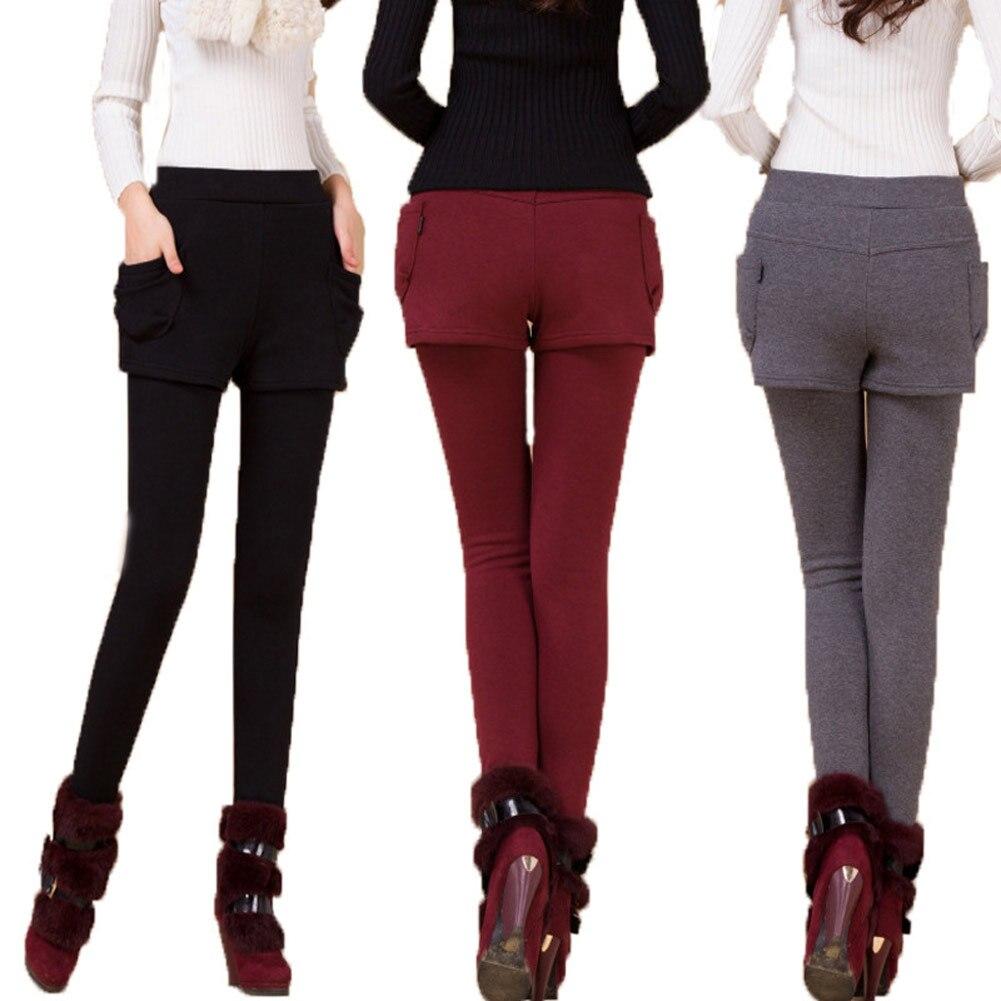 Women Autumn Pants Fake Two Pieces Short Pants Warm Winter Female Trousers JL