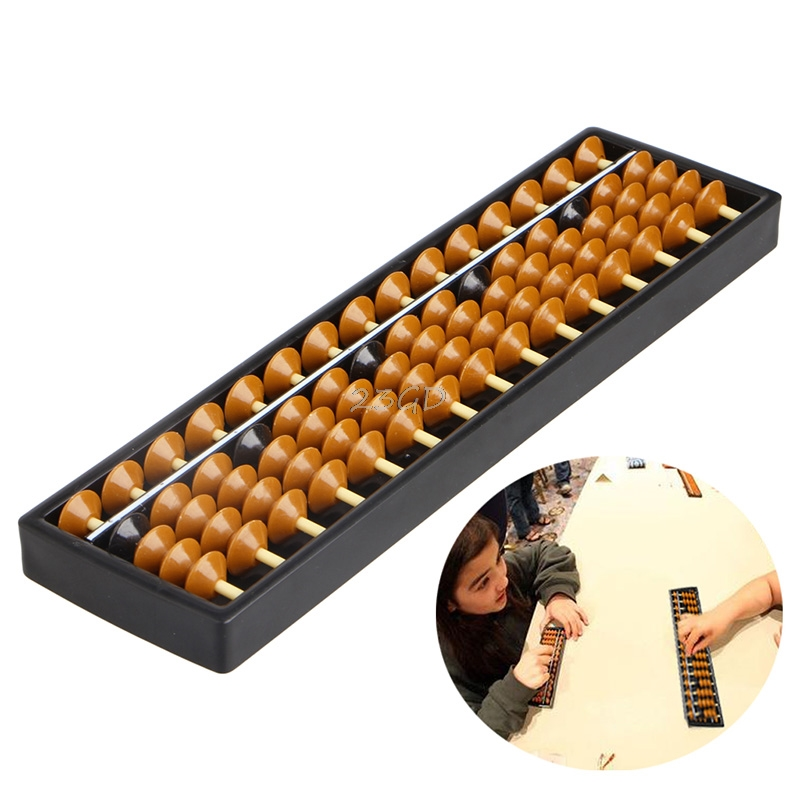 Plastic Abacus 15 Digits Arithmetic Tool Kid's Math Learn Aid Caculating Toys(China)