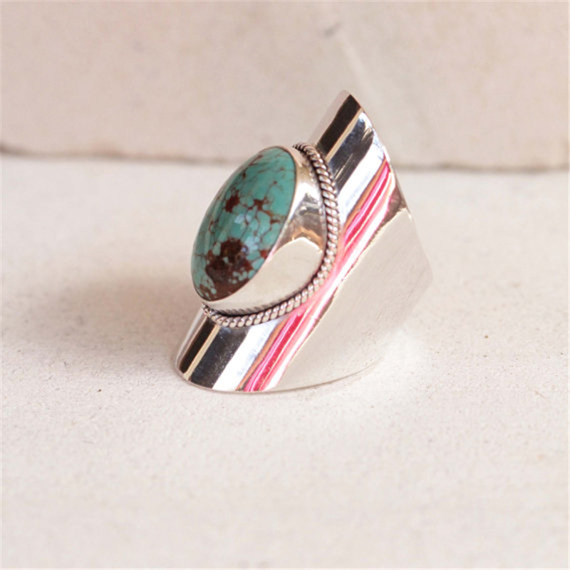 Bohemia Style Inlaid Big Oval Green Blue Gem Ornament Ring for Women Natural Stone Ring