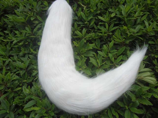 อะนิเมะคอสเพลย์หางสีขาว Fox Tail Fox หูหางหมาป่าแมวหู Handmade คอสเพลย์อุปกรณ์เสริม Haripin Headband Plush Cosplay Props