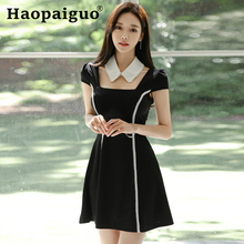 2019 Summer OL Office Work Dress Women Turn Down Collar Strap A-Line Mini Dress Women with Beading Casual Black Dress Plus Size 2019 spring summer loose black knitted dress women turn down collar office work midi dress women with button korean style dress