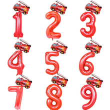 2pcs 32inch Red Number Balloons Mini Plane Fire Truck Foil B