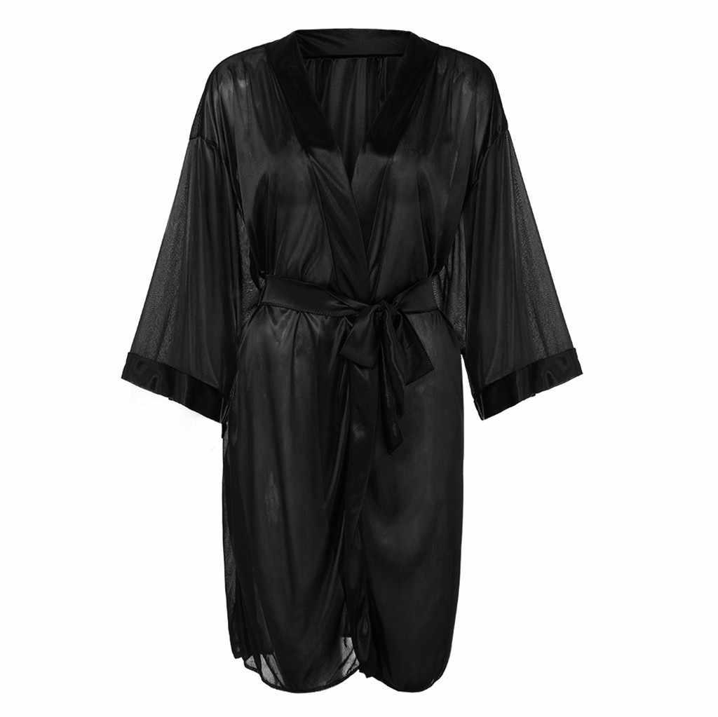 נשים סקסית הלבשה תחתונה הלבשת שחור יין משי סאטן קימונו חלוק תחרה חלוק הלבשה תחתונה הלבשת פיג 'מה ברמודה femeninas