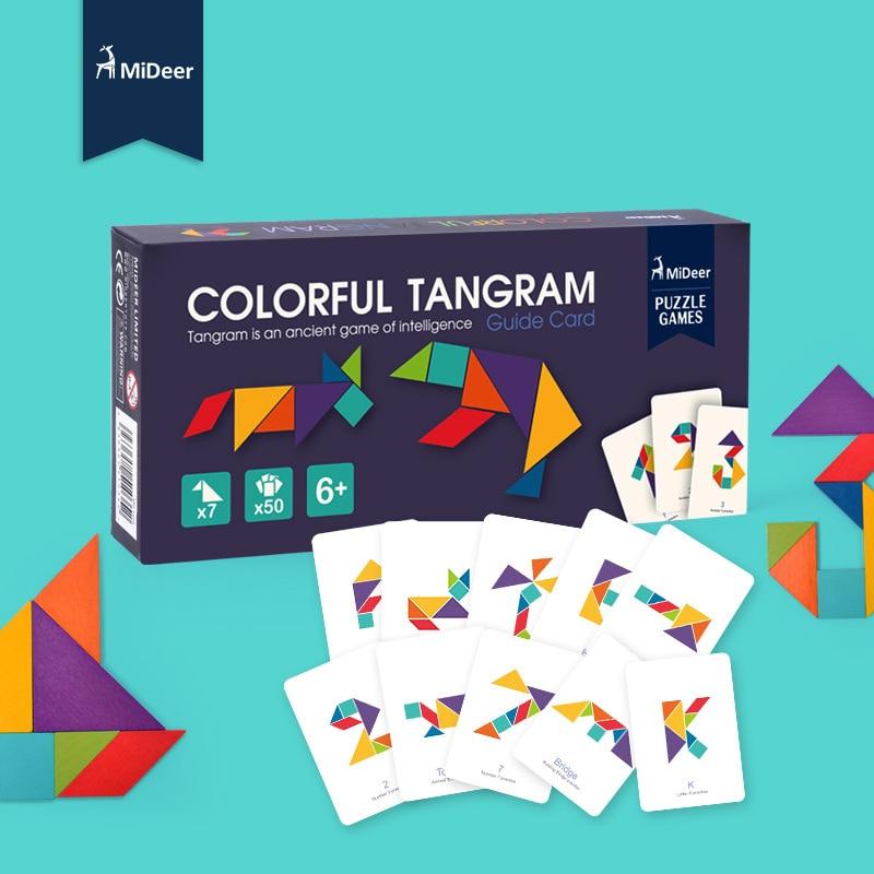 Mideer дети Бук деревянная красочная головоломка Танграм игры с картами раннее образование дети интеллектуальные игрушки