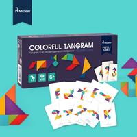Mideer Children Beech Wooden Colorful Tangram jigsaw Puzzle Games with cards Early Education Kids Intellectual Toys